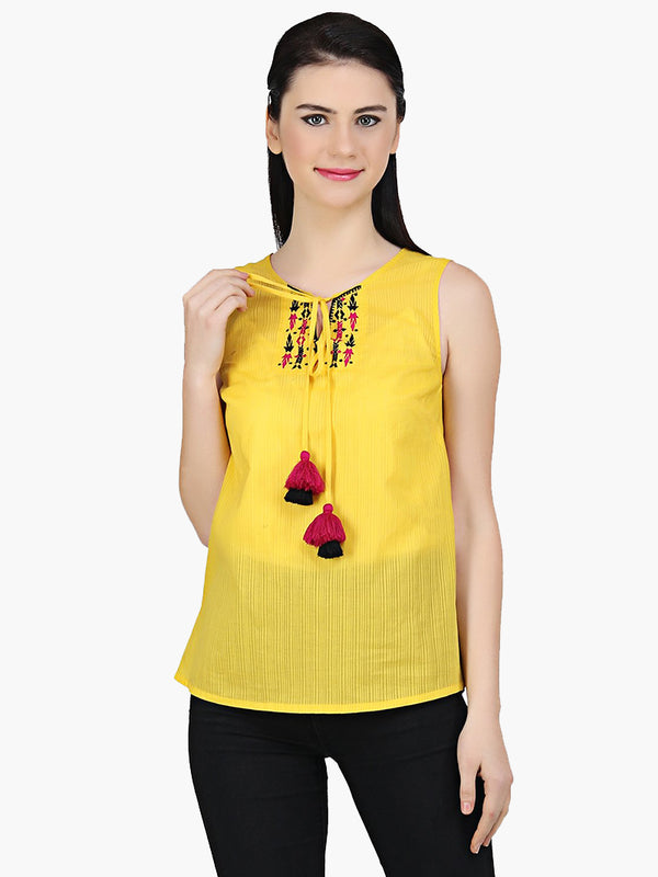 Yellow Embroidered Cotton Top - MissGudi