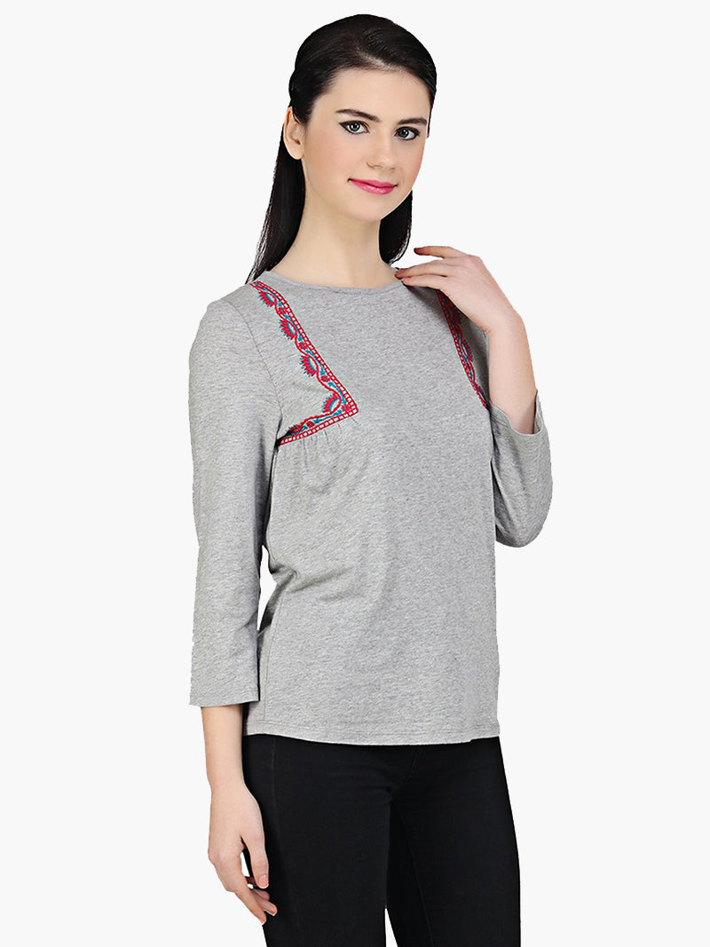 Embroidered Cotton Knitted Top - MissGudi