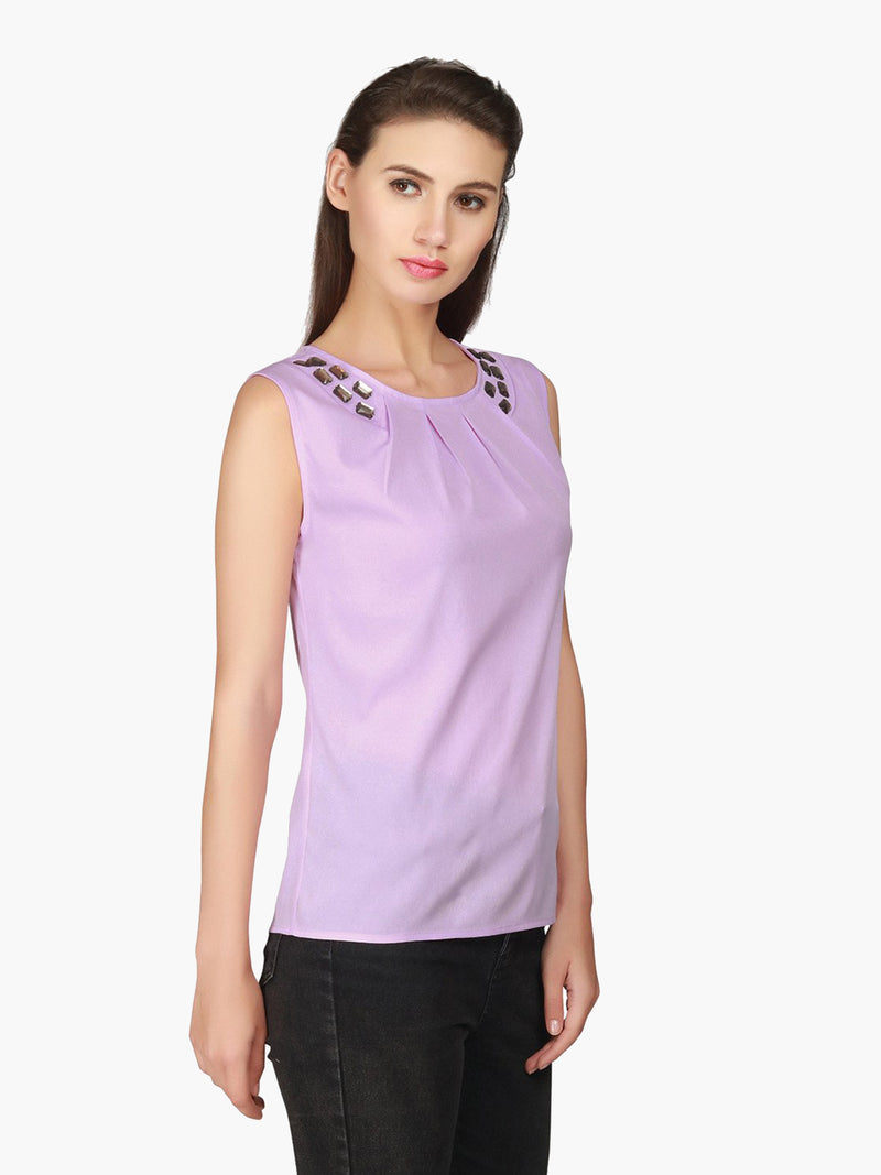 Violet Crepe Sequinned Top - MissGudi