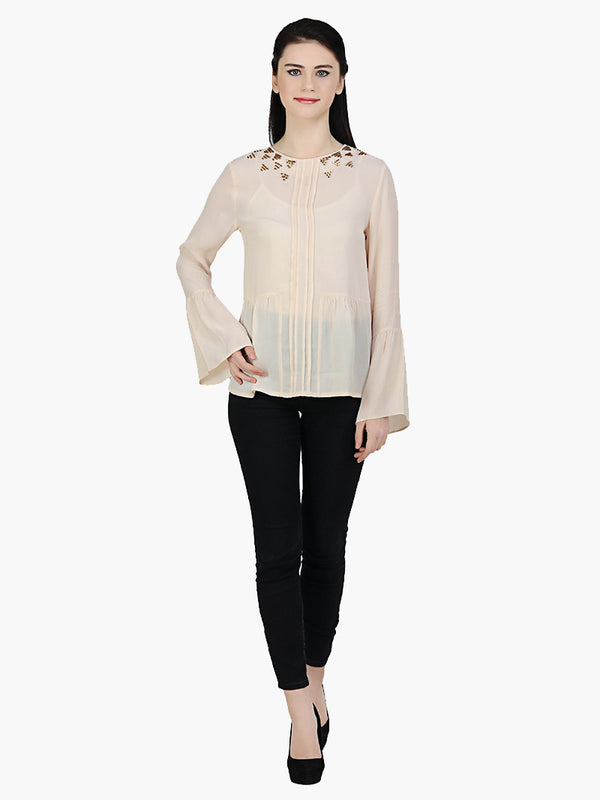 Peach Crepe Embellished Top - MissGudi