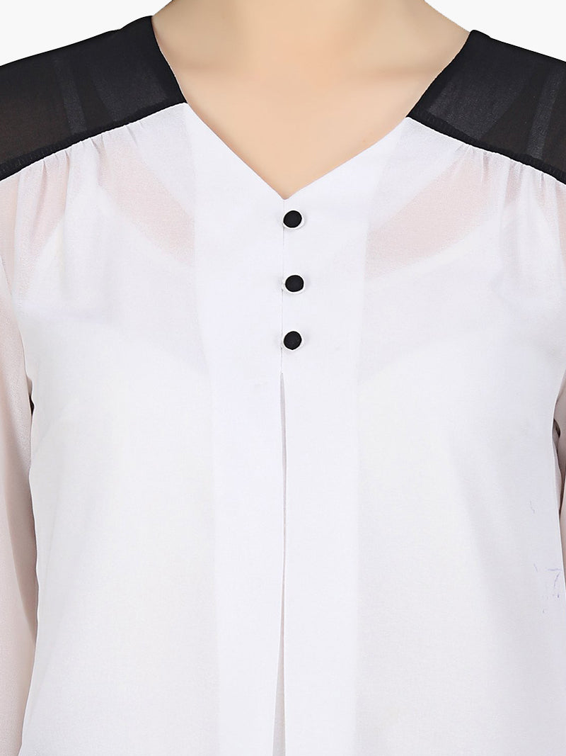 White Georgette Monochromatic Top - MissGudi