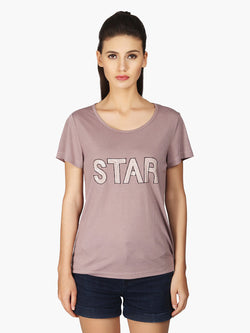 Beige Viscose Star Women Top - MissGudi