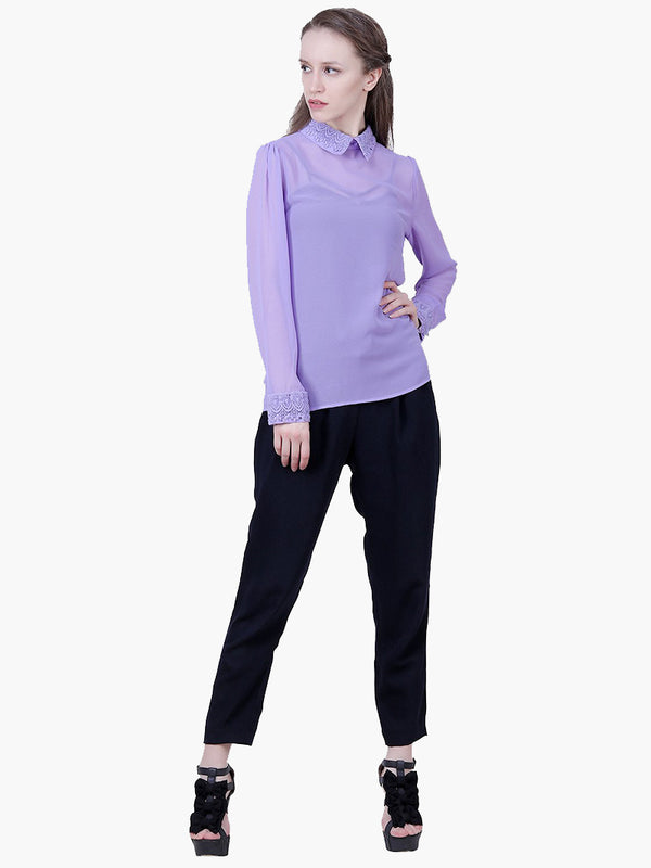 Purple Georgette Woman Top - MissGudi