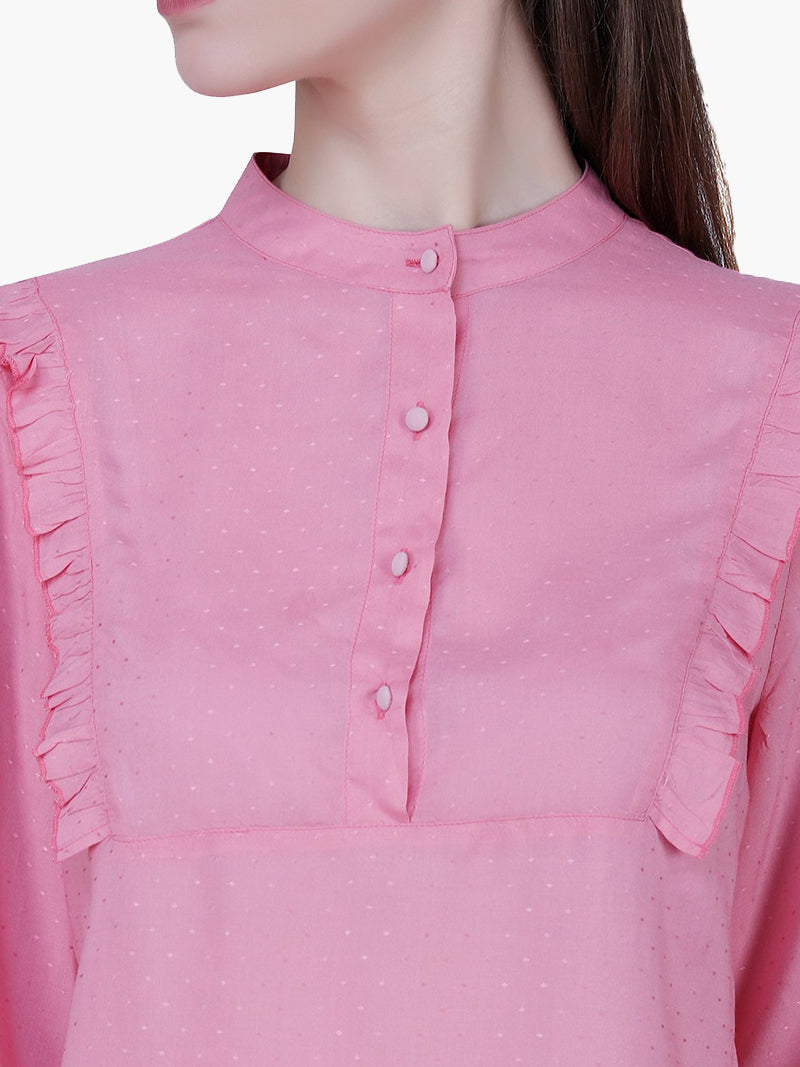Pink Cotton Dobby Woman Top - MissGudi