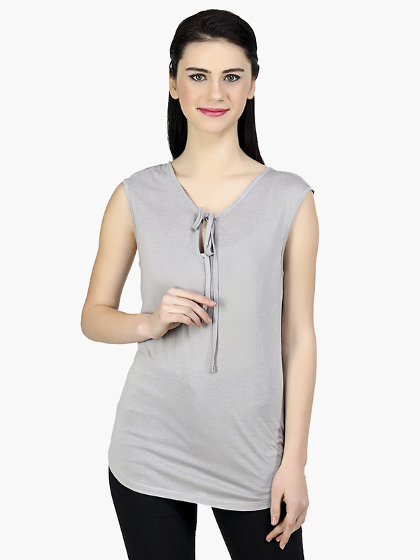 Grey Solid Viscose Knitted Top - MissGudi