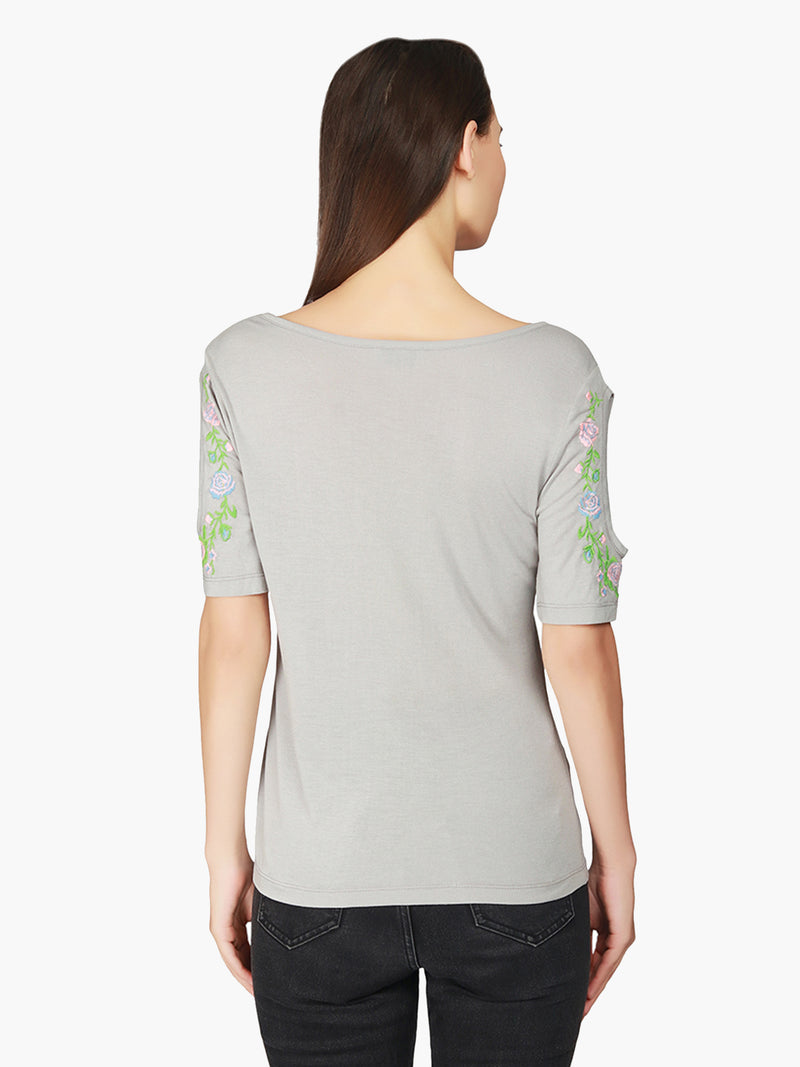 Grey Embroidered Viscose Knitted  Top - MissGudi