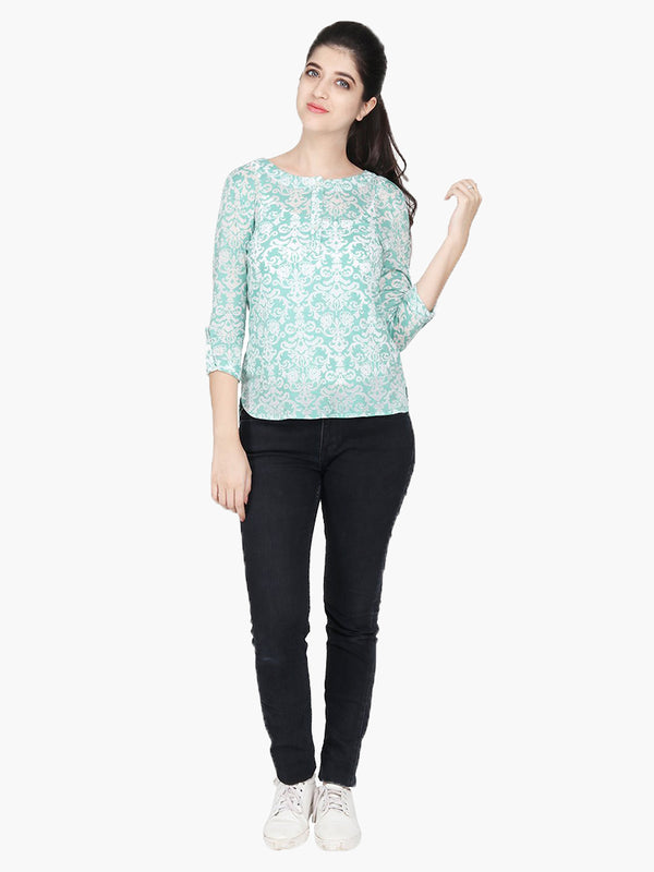 Green Poly Viscose Knitted Printed Top - MissGudi