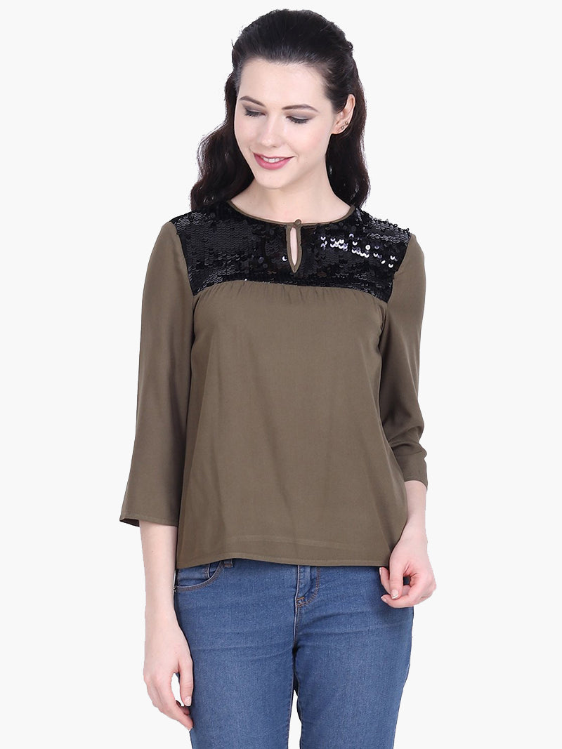 Green Embellished Viscose Top - MissGudi