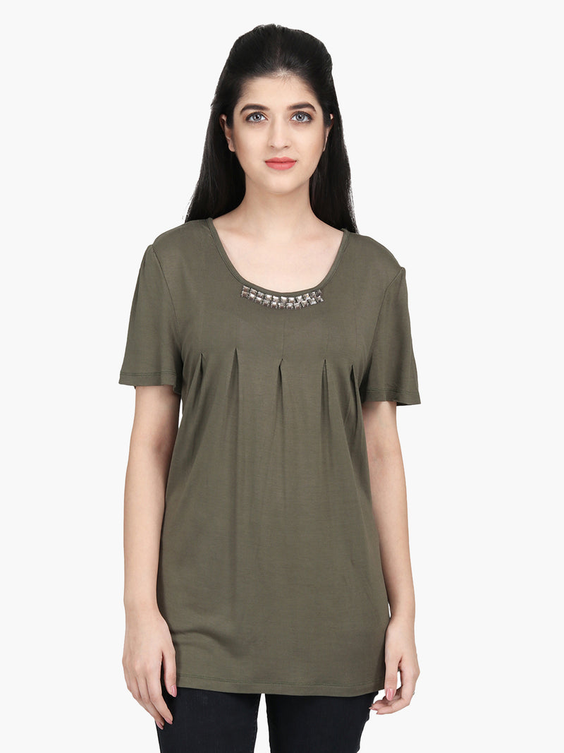 Green Cotton Knitted Embellished Top - MissGudi