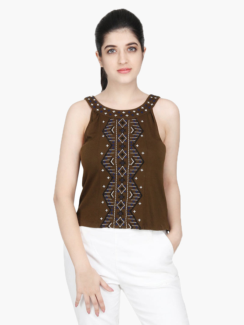 Dark Green Cotton Knitted Embroidered Top - MissGudi