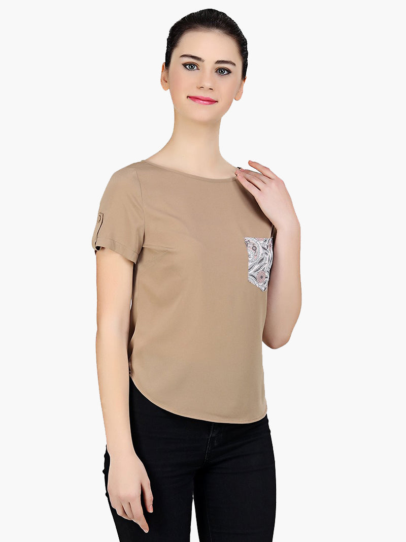 Brown Printed Pocket Poly Crepe Top - MissGudi