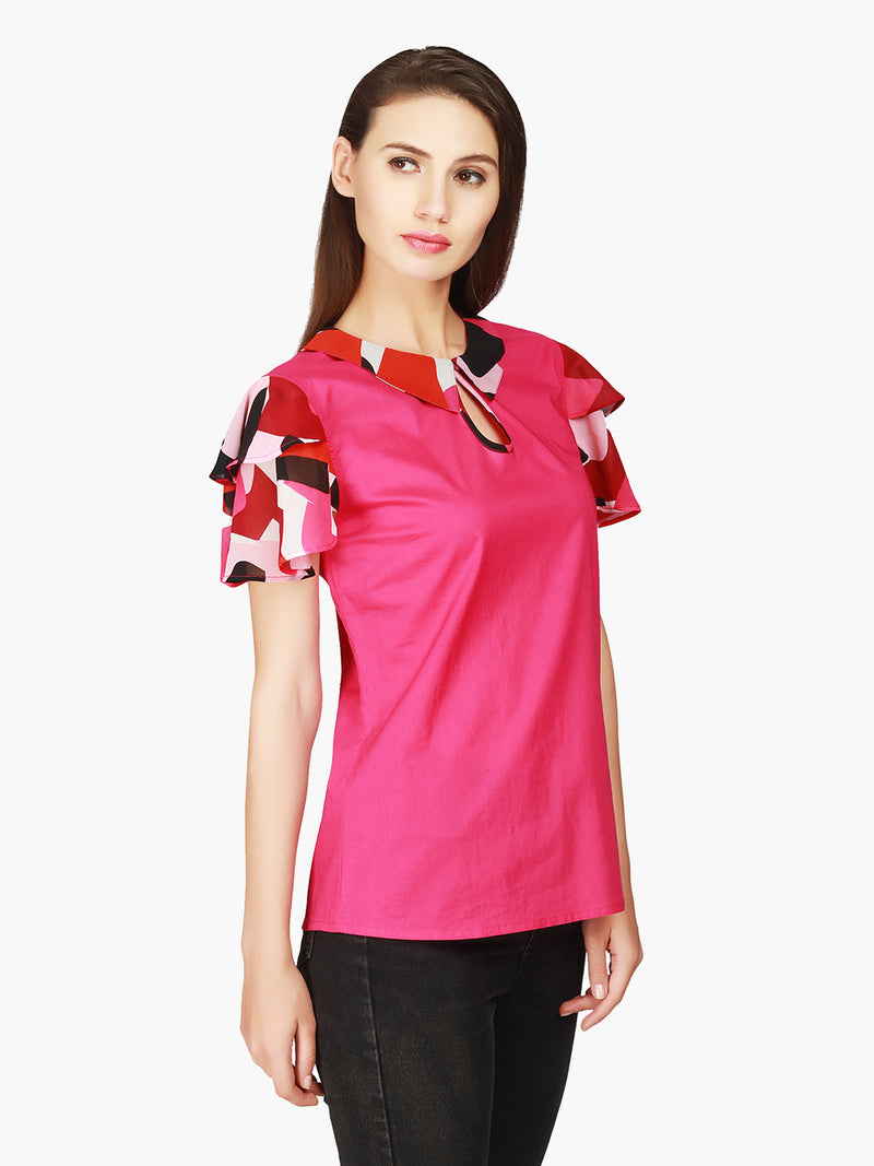 Cotton Printed Sleeve Women Top - MissGudi