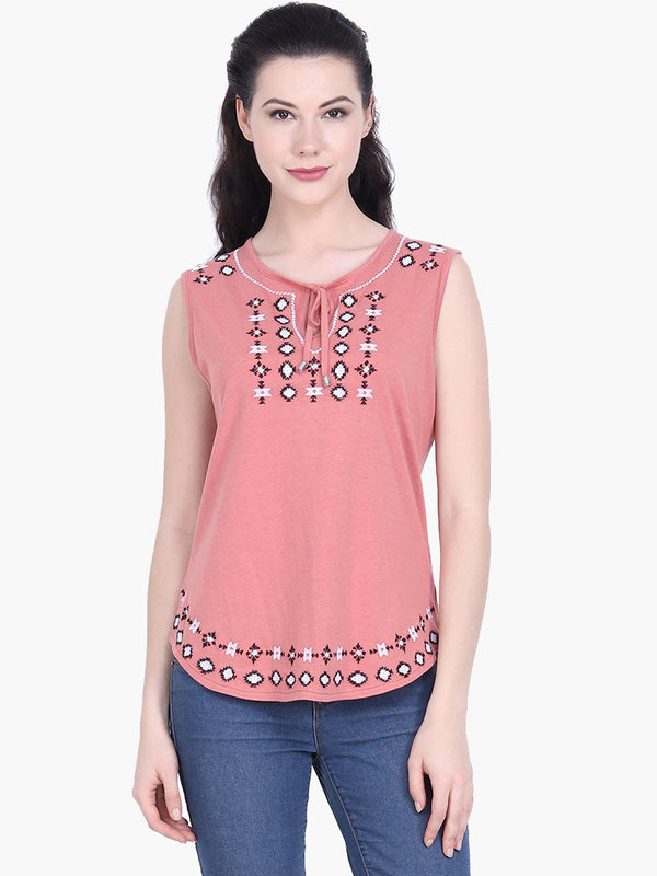 Bronze Sleeveless Embroidered Cotton Knitted Top - MissGudi