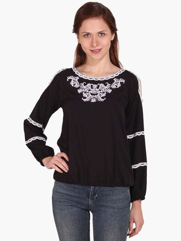 Black Embroidered Woman Top - MissGudi