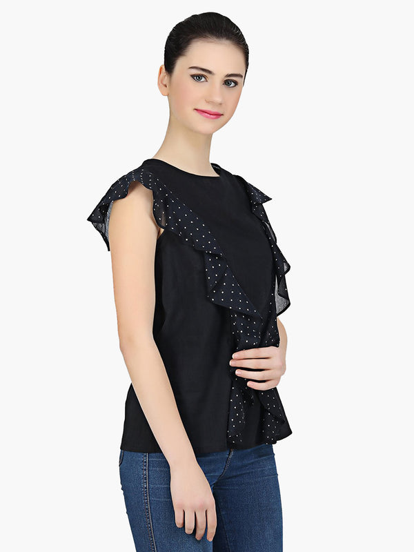Black Cotton Frills Top - MissGudi
