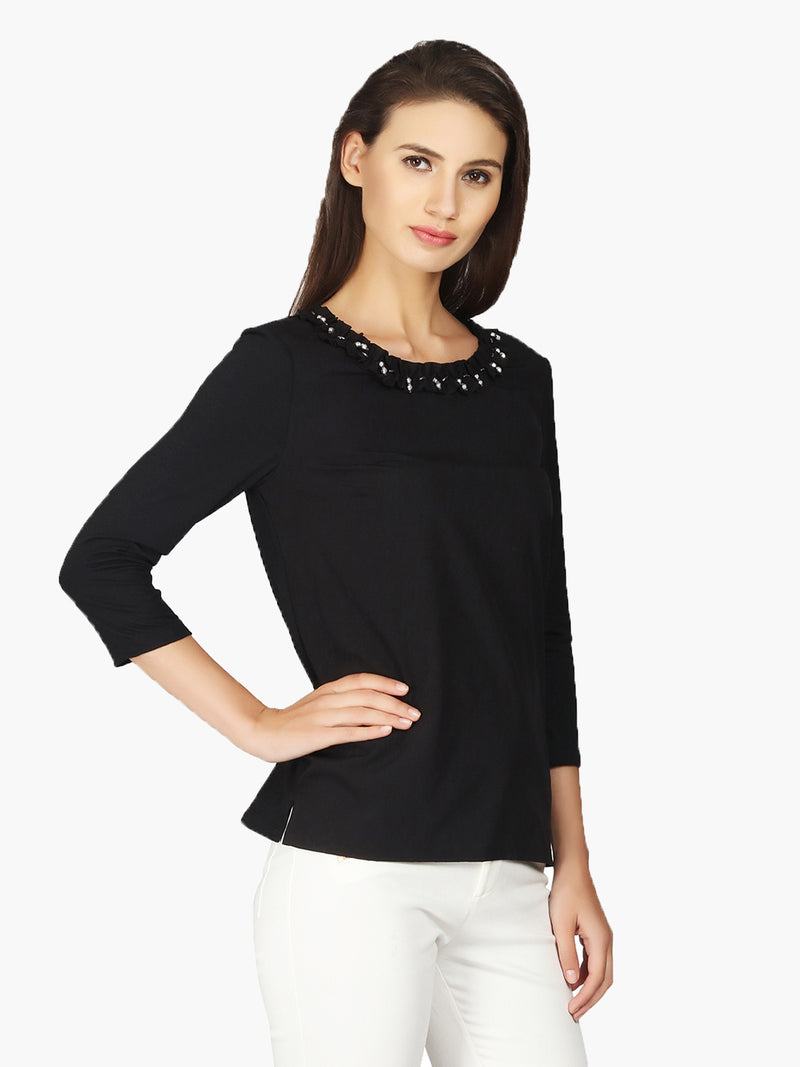 Black Frill Neck Viscose Woman Top - MissGudi