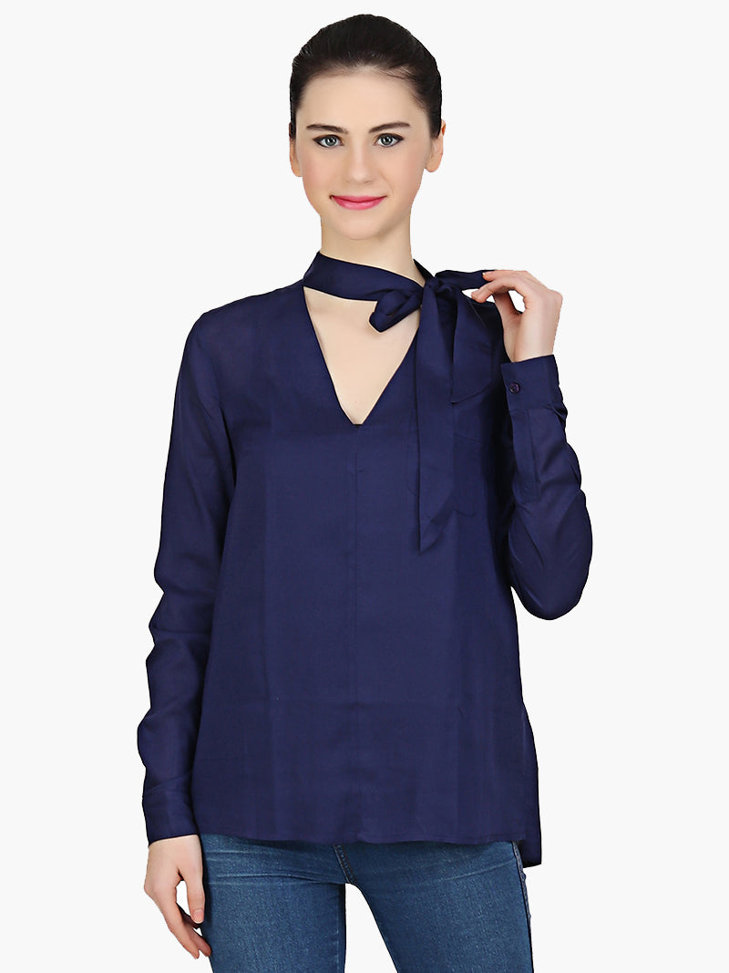 Navy blue Viscose Full Sleeve Women Top - MissGudi