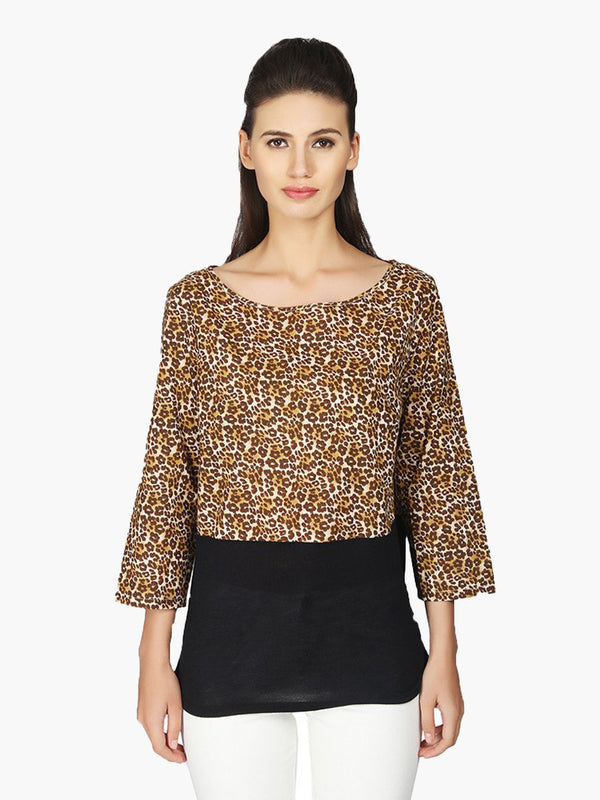 Beige Cotton Printed Women Top - MissGudi