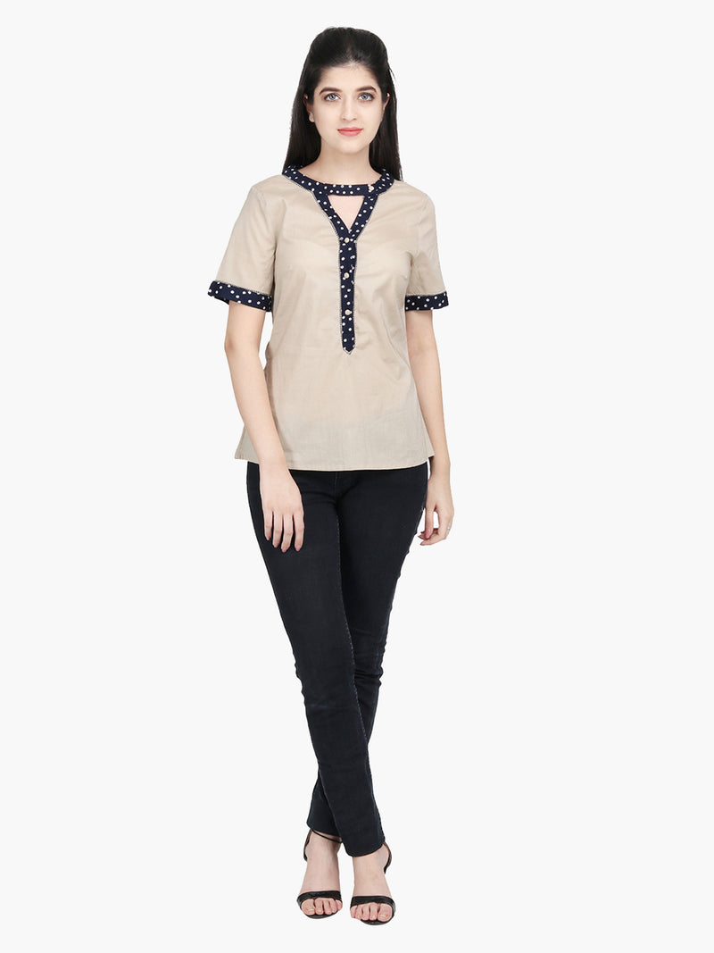 Beige Cotton Printed Neck Women Top - MissGudi