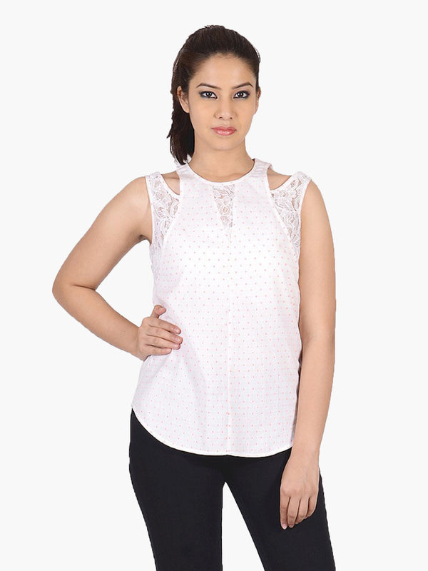 White Dotted Cotton Casual Top - MissGudi