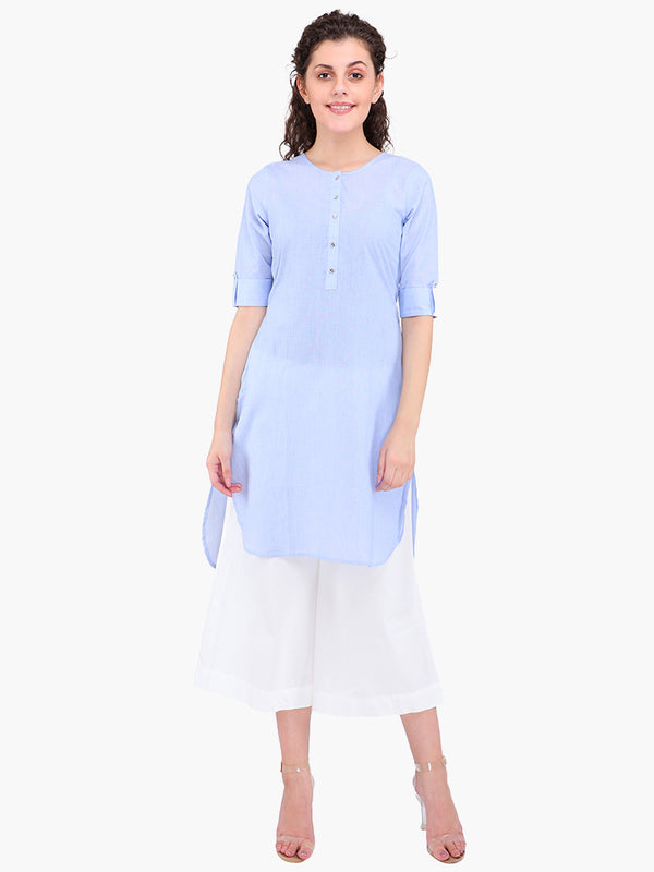 Zuwi Blue Cotton Women Kurta