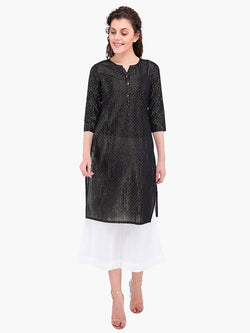 Zuwi Black Cotton Women Kurta