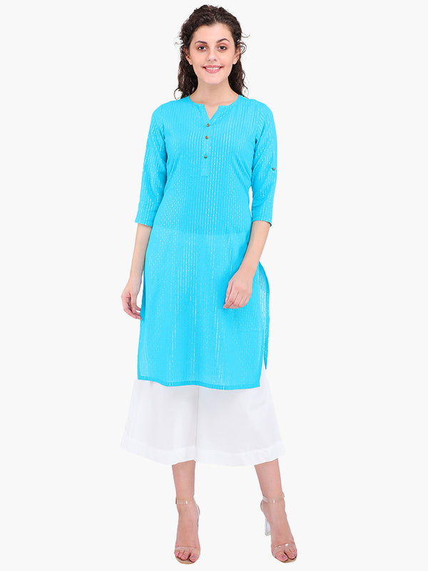 Zuwi Light Blue Cotton Women Kurta