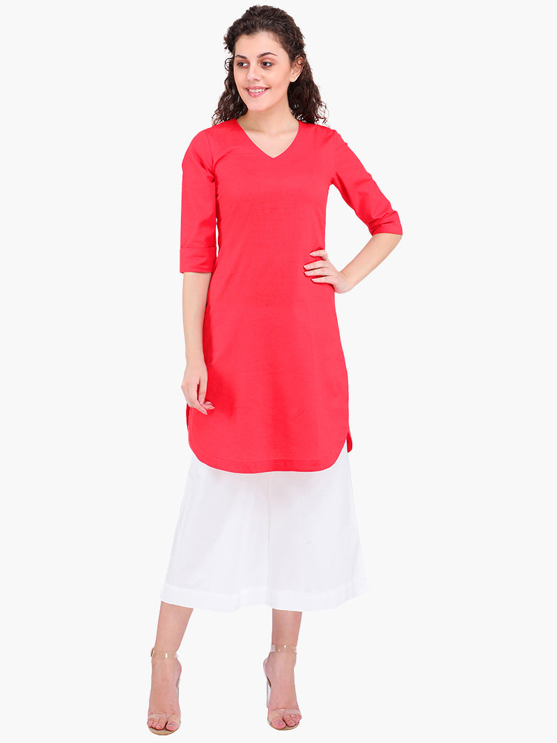 Zuwi Red Linen Women Kurta