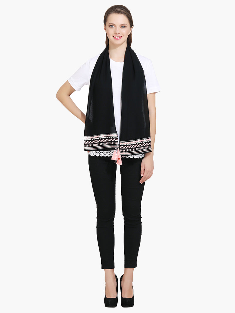 Black Embroidered Women Scarf - MissGudi