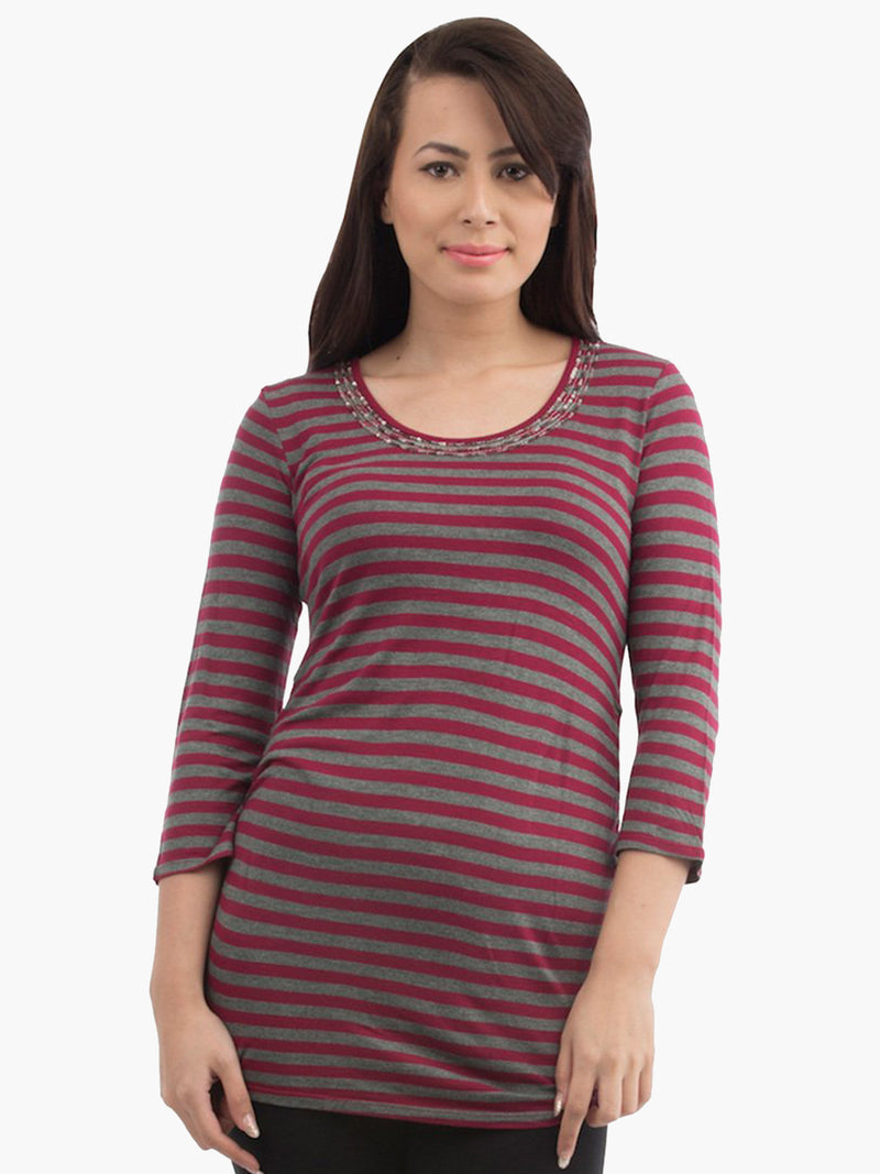 Maroon Stripe Viscose Women Top - MissGudi