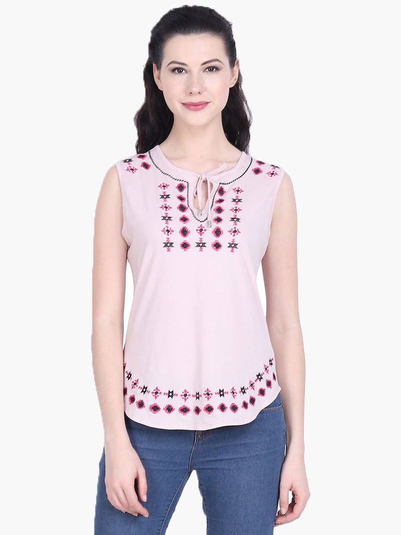 Light Pink Sleeveless Embroidered Cotton Knitted Top - MissGudi