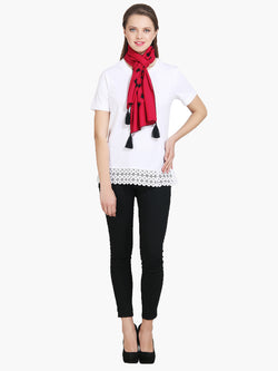 Red Embroidered Women Scarf - MissGudi