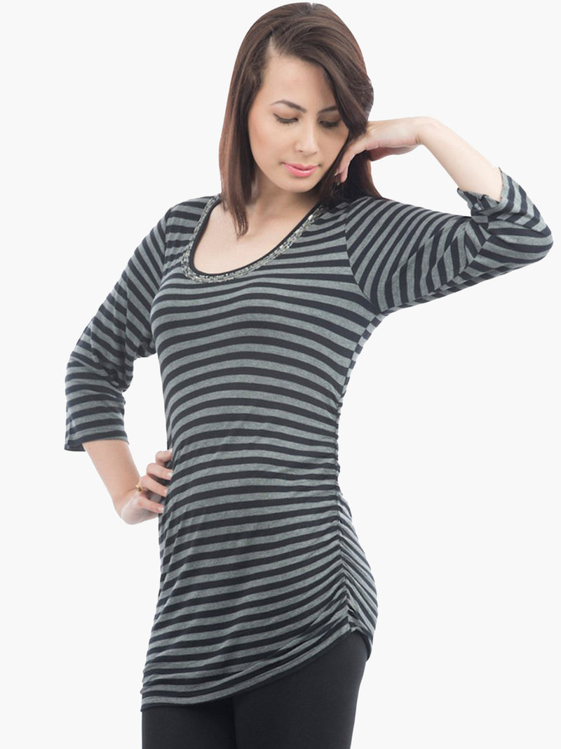Black Stripe Viscose Knitted Embellished Women Top - MissGudi