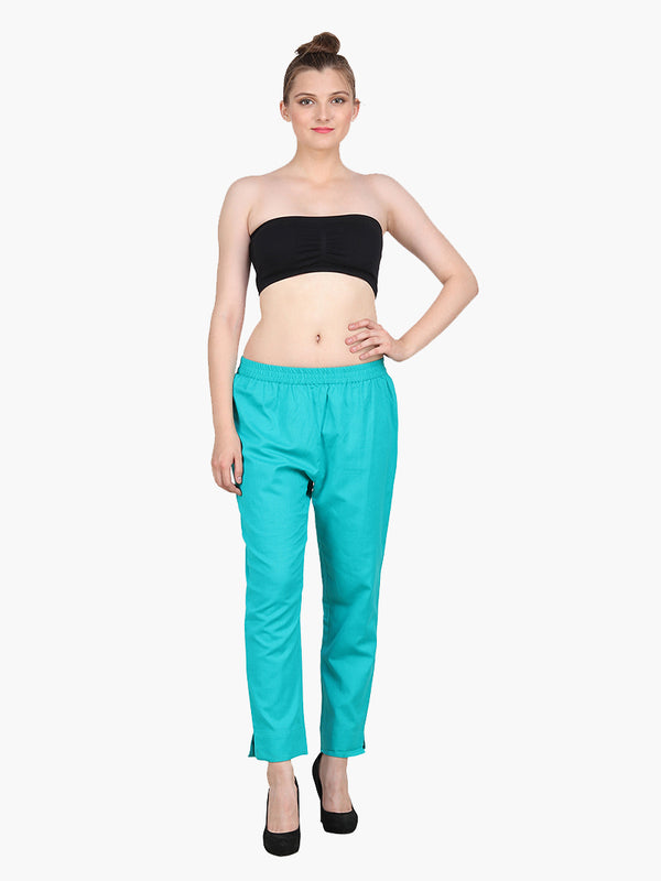 Sea Green Cotton Pantdar - MissGudi