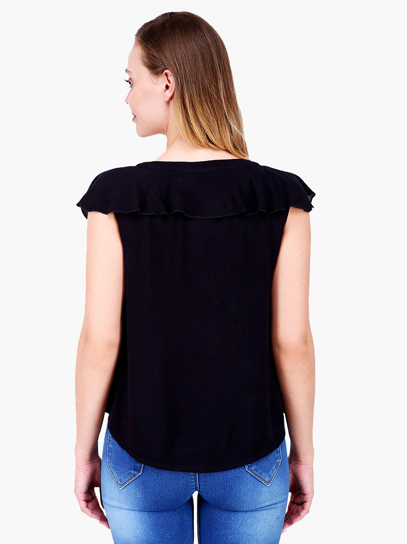 Zuwi Black Frill woman Top - MissGudi