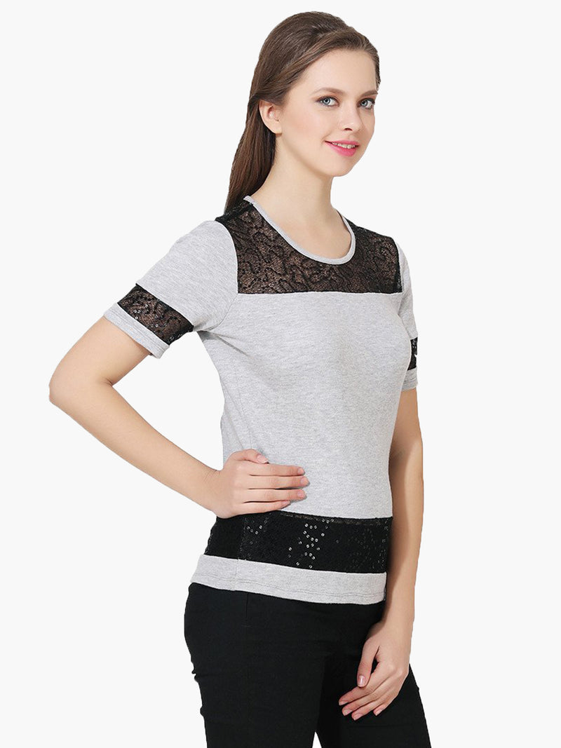 Grey Embellished Woman Party Top - MissGudi