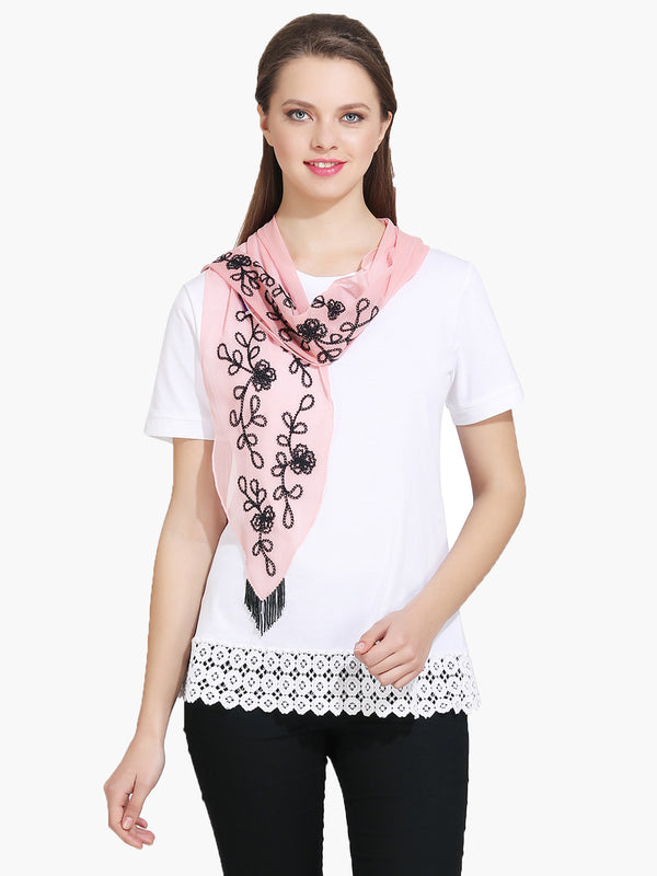 Pink Chiffon Embroidered Woman Scarf - MissGudi