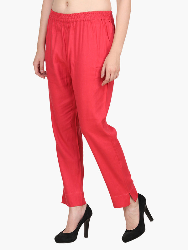 Red Cotton Pantdar - MissGudi