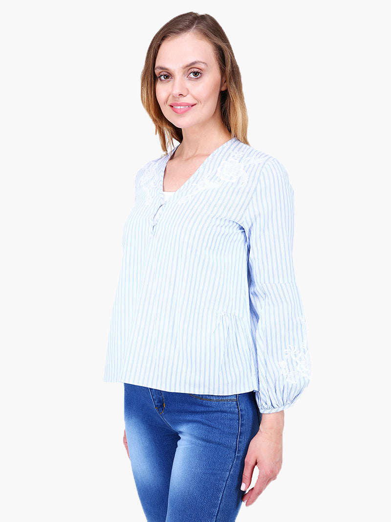 Zuwi Embroidered & Striped Woman Top - MissGudi