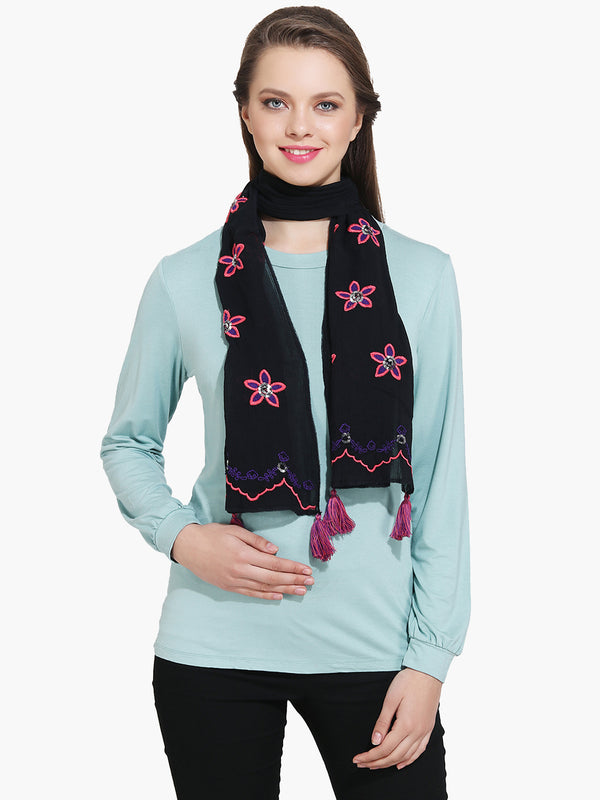 Embroidered Black Woman Scarf - MissGudi