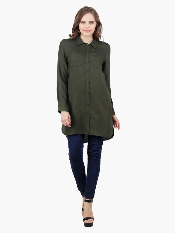 Green Viscose Women Long Length Shirt - MissGudi