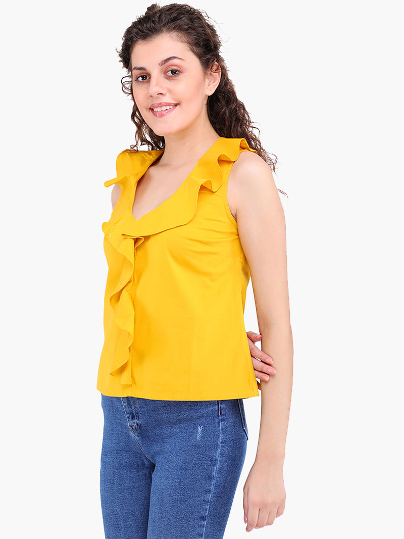 Zuwi Yellow Cotton Women Top