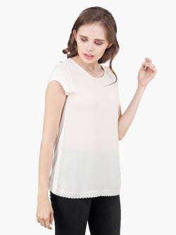 Off White Georgette Jersey Top - MissGudi