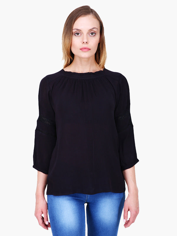 Zuwi Black Rayon Crepe Woman Top - MissGudi