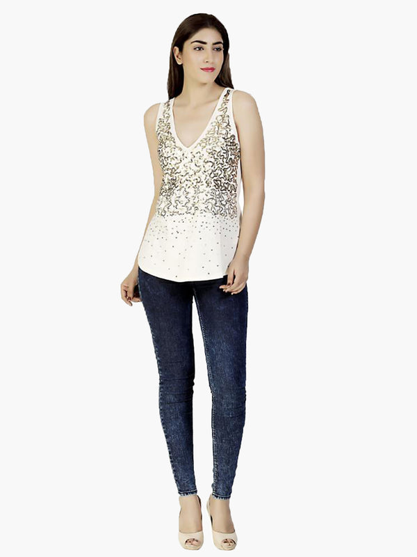 Beige Embellished V-Neck Party Top - MissGudi