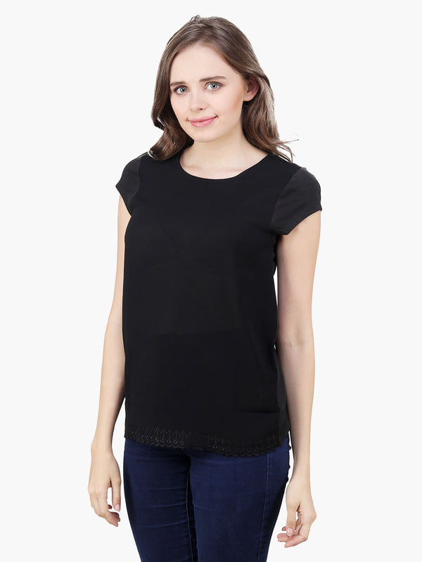 Black Georgette Jersey Top - MissGudi