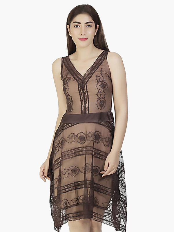 Dark Brown Party Dress - MissGudi