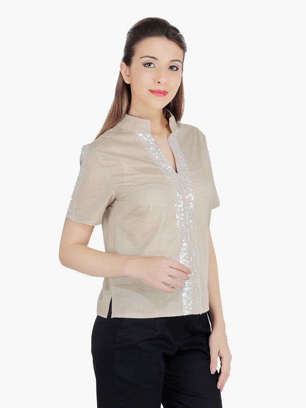Beige Cotton Silver Sequinned  Women Party Top - MissGudi