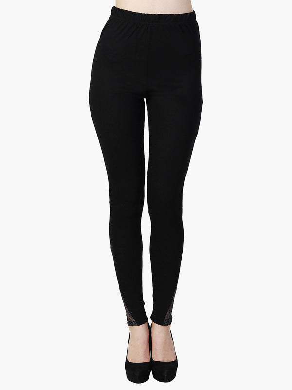 Black Cotton Knitted Full Length Legging - MissGudi