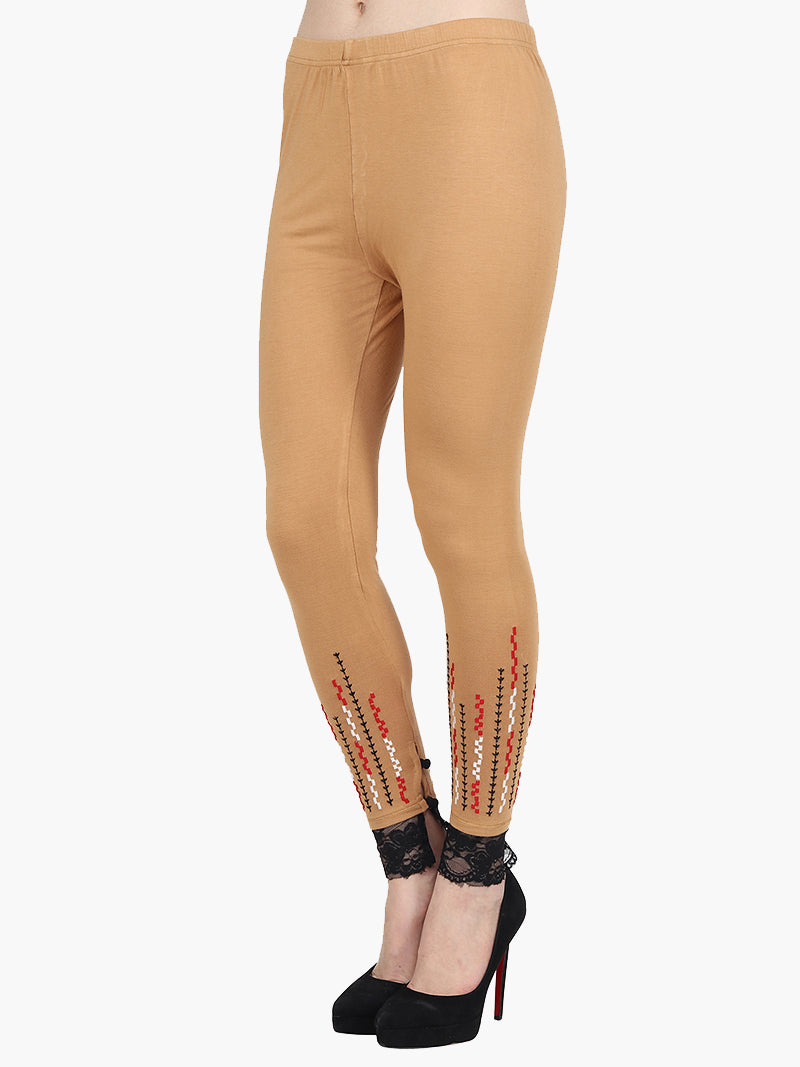 Yellow Cotton Knitted Full Length Embroidered Legging